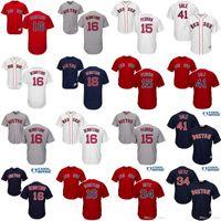 Wholesale Red Sox Jerseys - Boston Red Sox 16 Andrew Benintendi 41 Chris Sale 15 Dustin Pedroia 34 David Ortiz Jerseys Flexbase Cool Base MLB Red White baseball jersey