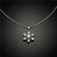Wholesale Necklace White Flowers - fashion link chain copper material snowflake white gold 6 petal flower pendant women's jewelry diamond necklace