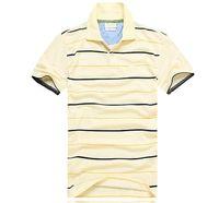 Wholesale famous t shirts designs - Custom Design Logo Men striped polo shirts Famous popular Golf Gentleman polos Cotton blend short sleeve men's t shirts