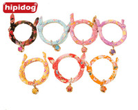 Wholesale Wholesale Handmade Dog Collars - Hipidog Handmade Cat Doggies Pet Collar Printed Necktie Necklace with Bell for Cat Small Dog Pet Accessories Supplie