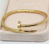 Wholesale Gold Nail Bangle - Titanium Steel Gold Women Cuff Nail Bangle Stainless Steel Brand Love Bracelet & Bangle For Women men bracekets Pulseiras high quality