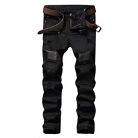 Wholesale Leather Denim Jeans Men - Wholesale- Fashion Designer Mens Ripped Biker Jeans Leather Patchwork Slim Fit Black Moto Denim Joggers For Male Distressed Jeans Pants
