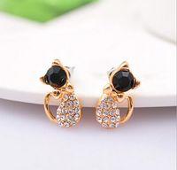 Wholesale Cats Eye Gold Earrings - Black Cat 's Eye crystal Cute Cat Bow stud earring wholesale free shipping