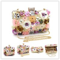 Vintage 3D Flower Evening Clutch Bag Bolsa de noiva de casamento Carteira de ouro Bolsa Carteira de metal Hard Box Embreagens de criador Atacado New Latest Bag