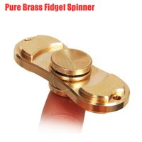 Wholesale Pure Toys - Top quality Pure Brass Fidget Spinner Toy Hand Spinners gold Torqbar Style Bearing Crazy EDC Finger Tip Rotation HandSpinner anxiety Toy DHL