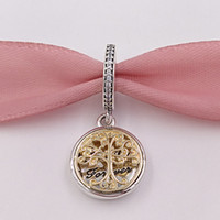 Wholesale Style Roots - 925 Silver Beads Silver &14K Gold Family Roots Pendant Charm Fits European Pandora Style Jewelry Bracelets & Necklace 791988CZ
