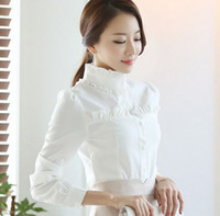 Wholesale Korean Ladies Chiffon Ruffle Blouse - Wholesale New Arrival Fashion Korean Slim Blouses White Shirt Stand-Up Chiffon Slim Lotus Leaf Lace Collar Lady Tide Long-Sleeved Shirts