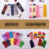Wholesale Kids Knit Tights - 2017 New Baby Girls Leg Warmer Love Dot Striped Fashion Knit Christmas Kids leggings Cute Dots Cotton Children socks Legging Tights A6340