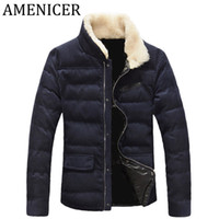 Wholesale Russian Men Clothes - Wholesale- Hot Sale 2016 Men Casual Parka Fashion Mens Down Jackets slim fit Brand Clothing Button Quilted Russian Winter Coats Zipper