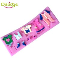 Wholesale chocolate baby molds - Delidge 10 pcs Baby Clothesline Cake Mold Silicone 3D Baby Cloth Fondant Molds Handmade Bakeware Tools Resin Clay Chocolate Mould