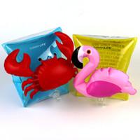 ingrosso granchio bambino-Kids Crab Flamingo Braccialetto gonfiabile bracciale di nuoto del fumetto del fenicottero Granchio Anelli di nuotata del bambino strumenti di aiuto sicuri XT