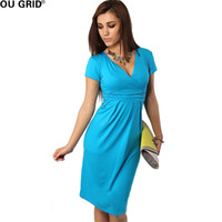 hamile kadınlar için sıcak elbiseler toptan satış-Sıcak Satış Yaz Elbise Kadınlar Hamile V Yaka Gevşek Gündelik Elbise Kısa Kollu Puantiyeli Kalem Elbiseler