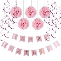 Wholesale Banner Settings - (Pink,Blue) Paper Decoration Set (Happy Birthday Banner,Foil Swirls,Pom Poms) for Girls Boys Birthday Party First Birthday