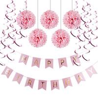 Wholesale Foil Banner - (Pink,Blue) Paper Decoration Set (Happy Birthday Banner,Foil Swirls,Pom Poms) for Girls Boys Birthday Party First Birthday