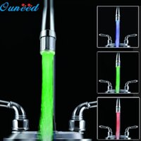 Wholesale Sensor Faucet Led Light - Wholesale- Happy Home 3 Color LED Light Change Faucet Shower Water Tap Temperature Sensor No Battery Happy Gifts High Quality ABS