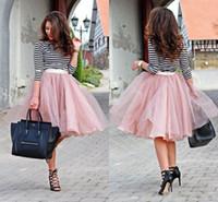 falda rosa de tul mujer al por mayor-2017 Dusty Pink Tulle Piping Faldas Para Las Mujeres Barato Moda Corta de la Calle Fruncido Falda de Primavera Encantadora Falda Fiesta vestido