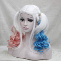 Wholesale Wig Mix Pink Ponytail - 2017 Suicide Squad Harley Quinn Gradient Curly Pink Blue Ponytail Cosplay Costume Halloween wig