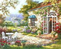 ev numarası toptan satış-Yeni Tasarım Bahçe Evi Sayılarla Diy Boyama Soyut Modern Yağlıboya Ev Duvar Sanatı Dekor Oturma Odası Yapıt Için 40x50 cm