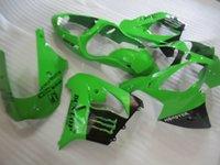 ingrosso zingari pieni di zx9r-Kit carena completo in plastica ABS per Kawasaki Ninja ZX9R 2000 2001 carena nera verde set ZX9R 00 01 OY45