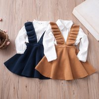 Wholesale Knit Halter - Everweekend Girls Ins Hot Sell Knitted Ruffles Party Dress Candy Color Halter Princess Autumn Winter Holiday Dresses