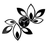 acryl blumenuhren großhandel-Großhandels- 2016 heißer Raum der Ankunft silberner großer Blumenquarz Acryl DIY Wanduhr moderner Entwurf Luxus 3d Spiegel passt Uhr freies Verschiffen auf