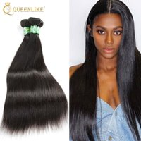 Wholesale Straight Remy Hair Wefts - Brazilian Virgin hair Weave Bundles Silk Silky Straight 1B Double wefts Raw Unprocessed Remy human hair extension Queenlike Silver 7A Grade