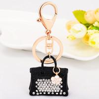 Wholesale Charms For Handbags Gold - 2017 New Bling Bling Crystal Rhinestone Handbags Shape Metal Keychain Keyring Car Keychains Purse Charms Handbag Pendant for Women Girls