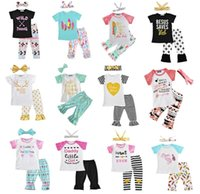 Wholesale Cute Childrens Clothes - Newest Girls Childrens Clothing Sets Short Sleeve tshirts Pants Headwear 3 Piece Set Letters Arrow Kids Clothes Suits Boutique Clothing