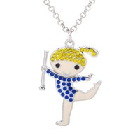 Wholesale Necklace Chain Types Wholesale - New Four Types Cheer aerobics Dancing Happy Girl Colorful Bling Bling Crystal Embedded Pendant Link Chain Necklace Best Gift for Little Girl