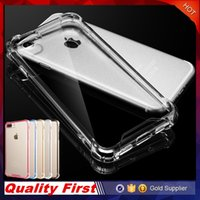 Wholesale Hard Case Bumper Black - Transparent Shockproof Acrylic Hybrid Armor Bumper Side Soft TPU Frame Back PC Hard Case Clear cover for iphone 7 6s Plus Samsung Note 7