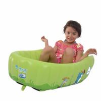 şişirilebilir büyük pvc toptan satış-Toptan-Taşınabilir Şişme Bebek Küvet Duş Teknesi Bide Küvetler Mavi Pembe Renk Büyük PVC Katlanır Taşınabilir Küvet