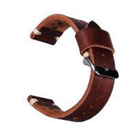 Wholesale Wholesale Seiko - 22mm Watchband Genuine Cowhide Leather Dark Brown Luxury watchband Strap Belt Silver Pin Buckle