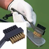 Atacado- New 2 Sided dupla cerdas Brass Wires Golf Club Escova Groove Cleaner Kit Ferramenta Preto Útil Novo Marca