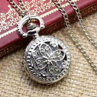 Wholesale Mens Locket Watch - Wholesale-New Mens Womens Steampunk Vintage Antique Silver Necklace Chain Round Quartz Pocket Watch Charm Locket Free Shipping P605
