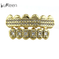 Wholesale Tops Rhinestone Girls - Lurren Punk Hip-hop Rhinestone Real Gold Plated Teeth Grillz Top & Bottom Teeth Caps Set For Girls Men Body jewelry