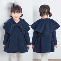Wholesale Fleece Jackets Embroidered - Everweekend Girls Bow Embroidered Ruffles Capes Poncho Lovely Kids Blue Color Coat Princess Fleece Lining Winter Outerwear