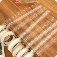 Wholesale Transparent Decorative Adhesive Tape - Wholesale- 2016 3 rolls lot DIY Transparent Lace Tape 10 m Decorative Adhesive Tape Random Design Photo Album Glass Bottles Adhesive Tape