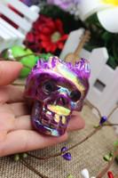 Wholesale Crystal Skull Carving - The top!!!Natural quartz crystal purple angel treatment aura skull