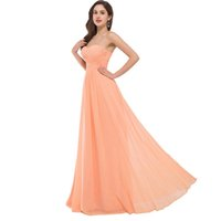 Trägerloses Langes Langes Kleid Kaufen -Elegante trägerlosen Chiffon Abendkleider lange formale kleid 2017 lace-up zurück Party Kleider orange Abendkleid Robe De Soiree