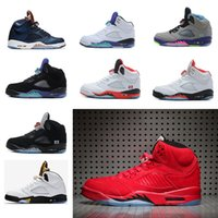 Wholesale Red Cdp - air retro 5 V men basketball shoes Red Suede Raging Bull Bronze Olympic OG Black Metallic Gold CDP Bean Mark Ballas sport sneakers
