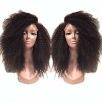 Wholesale Best Human Afro - Best Selling full Brazilian Kinky Curly Wigs Lace Front Wig Glueless afro curly Full Lace Human Hair Wigs wity baby hair .