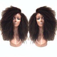 meilleurs cheveux humains afro crépus achat en gros de-Meilleure vente pleine brésilienne crépus bouclés perruques dentelle avant perruque sans colle afro bouclés pleine dentelle perruques de cheveux humains wity baby hair.