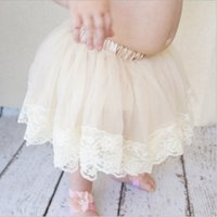Wholesale lace tulle dress infant online - New Baby Girls Summer tutu skirt girls Kids lace tulle pitti skirt Newborn Infant bubble skirt Children Princess Lace Ball Dress KTS09