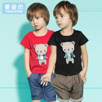 Wholesale Baby Teddy Bear Clothes - Yingzifang New 2017 Summer Boys Girls Baby Clothing Sets 2 Pieces Kids Pants + Pullover Top Shirts Boys Girls Teddy Bear Kids Clothes