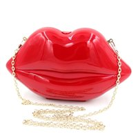 Wholesale White Pearl Clutch Bag - Wholesale-Red lips party evening Bags rose pink acrylic pearl white Clutches purses designer girls' chain bags black cross body bag XA711A