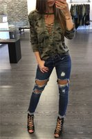 Wholesale Blouse T Shirt Women - Bandage Camouflage T-shirts for Women Long Sleeves Lace Up Hollow Out T Shirts Blouses Tops Sexy V Neck Halter Top shirt Female Plus Size