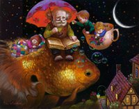 Victor Nizovtsev Art Prints pintura a óleo Fantasy Fish Fairy tale world Children Room Decorações Wall Picture best Christmas gift Home Decor