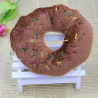 Wholesale Lovely Bread Cartoon - Dog Toy Three Colour Doughnuts Lovely Cream Bread Pet Voice Plush Toies Chew Supplies Soft Hot Sale 3zk F R