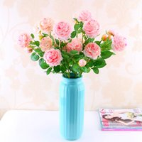 Wholesale Peony Gifts - 9 Color Artificial Flowers Roses Peony Three Flower Heads Garden Wedding Party Decoration Simulation Fake Flower Head Christmas Gift HH7-153