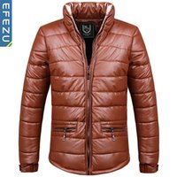 padded leather jackets - Men s winter PU leather coat thick feather padded casual jacket